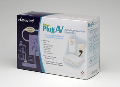 Actiontec's Mega PlugAV 200 Mbps Powerline Ethernet Kit