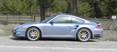 The Turbo S Glistens in the sunlight on Highway 95 (click for larger image)